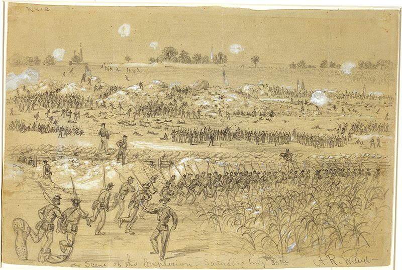 Battle of the Crater, Alfred Waud, Harper's Weekly, 22 Aug. 1864, p. 548.