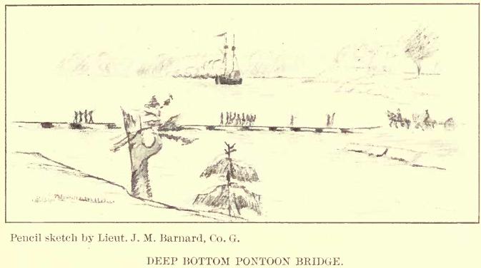 Pencil Sketch of Jones Neck Pontoon Bridge at Deep Bottom by J. M. Barnard, 24thMA
