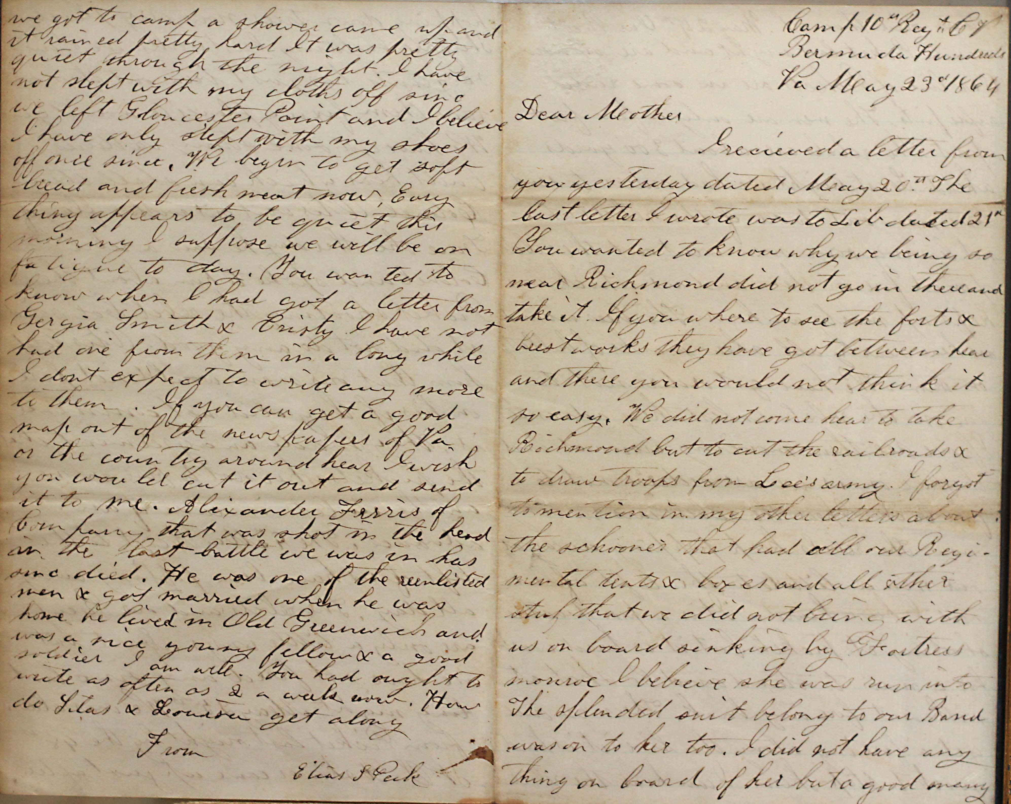 18640523 Elias Peck 10th CT Letter Page 1 and 4