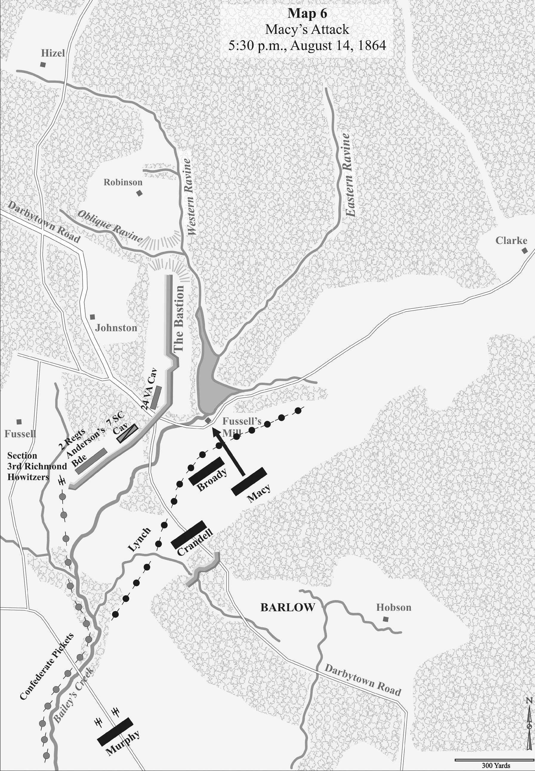 Horn Weldon RR Battles Second Deep Bottom Map 6 Macy's Attack 5:30 p.m., August 14, 1864