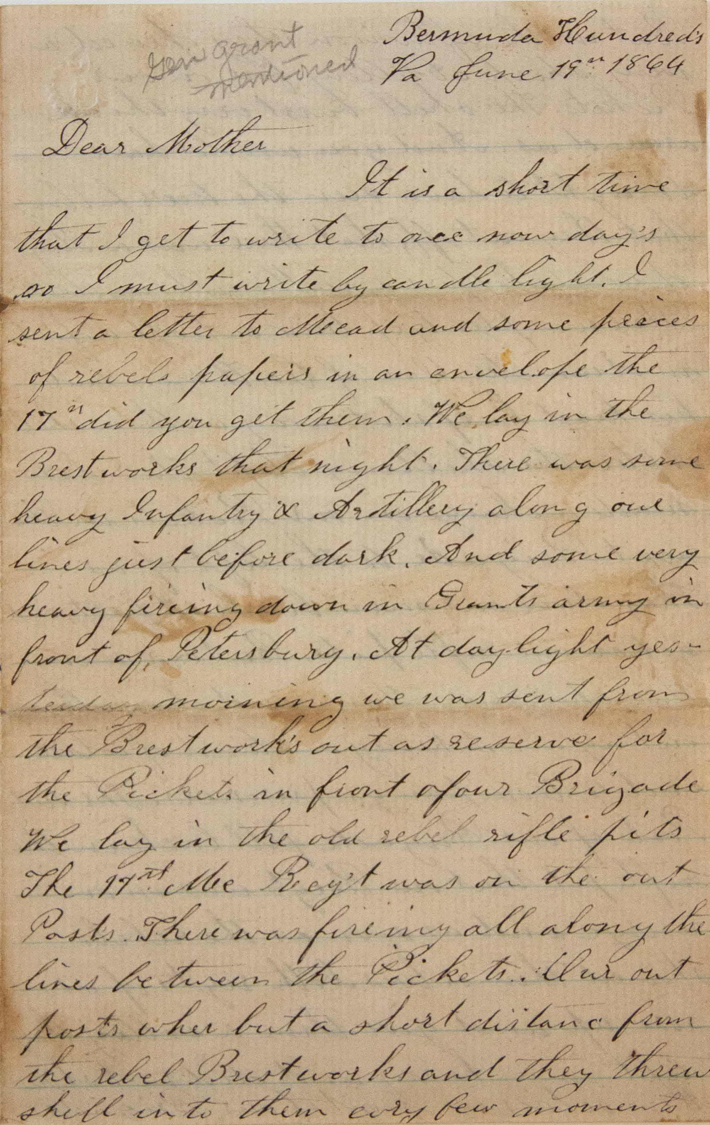 18640619 Elias Peck 10th CT Letter Page 1